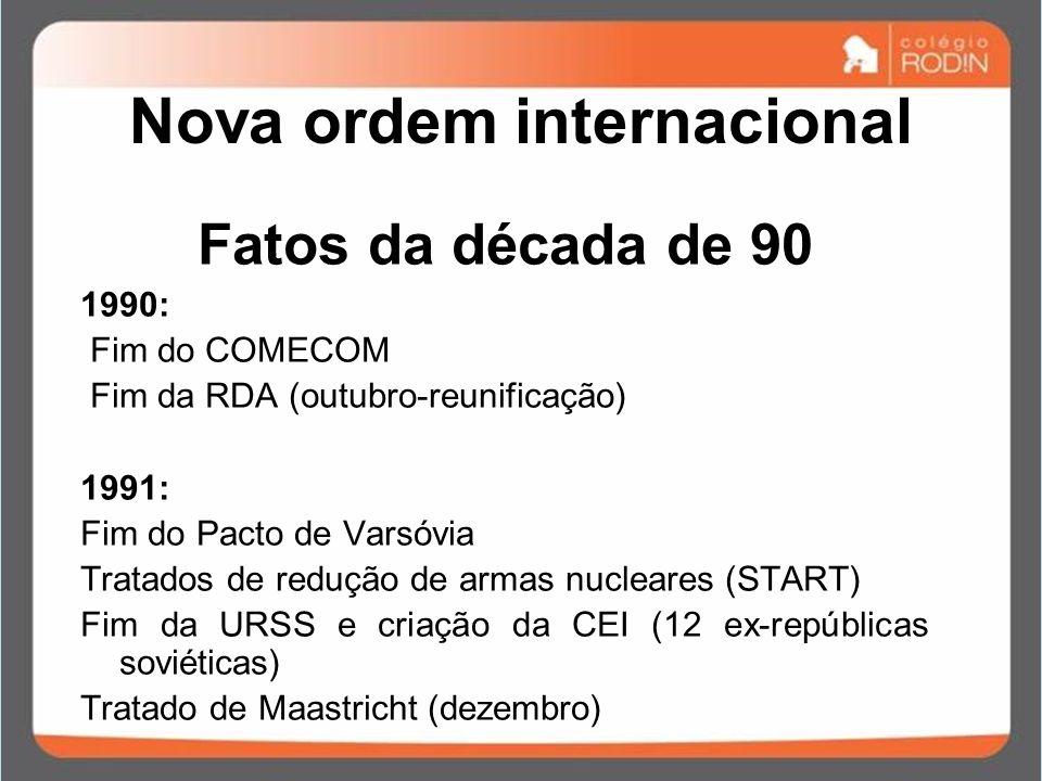 Nova ordem internacional Fatos da década de 90 1990: Fim do COMECOM Fim da RDA (outubro-reunificação) 1991: Fim do Pacto de Varsóvia Tratados de reduç