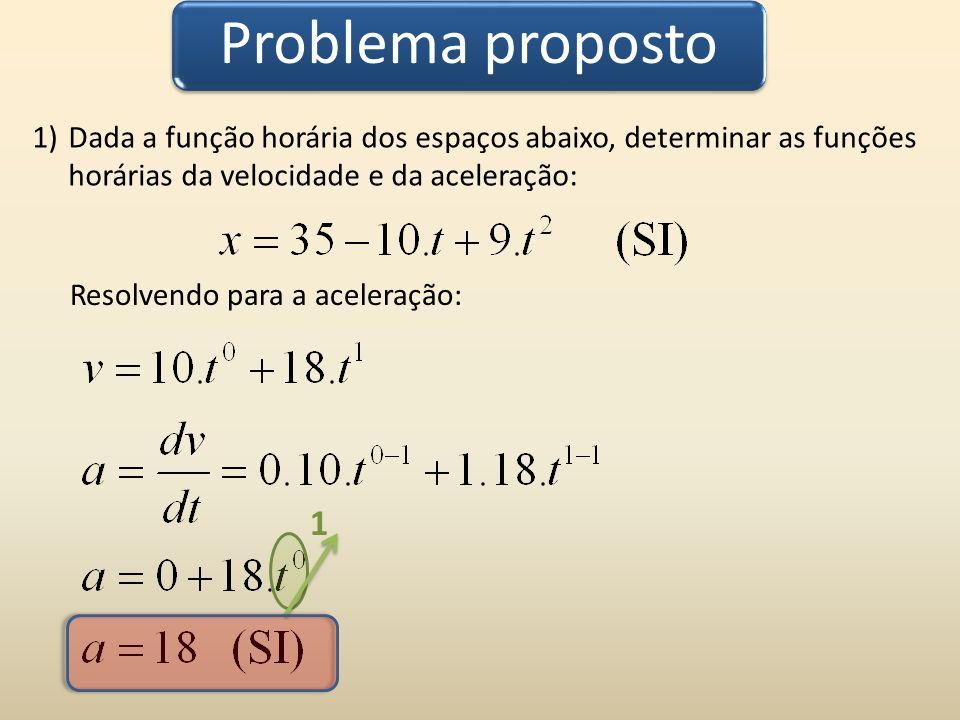 Problema proposto 1)Dada a função horária dos espaços abaixo, determinar as funções horárias da velocidade e da aceleração: 1 Resolvendo para a aceler