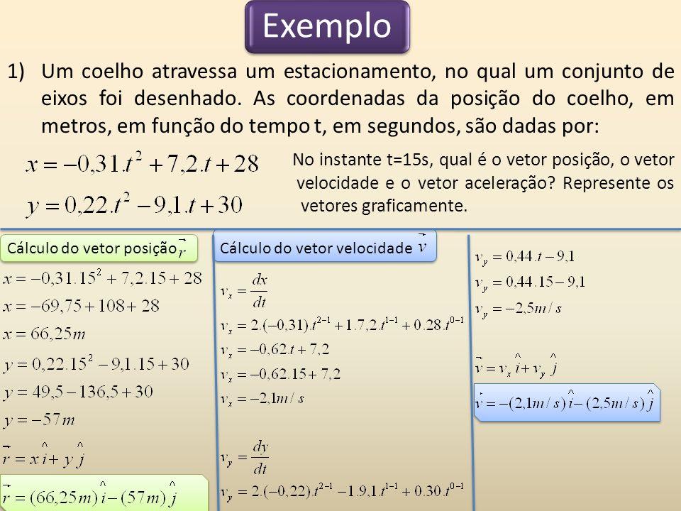 Cálculo do vetor velocidadeCálculo do vetor posição Exemplo 1)Um coelho atravessa um estacionamento, no qual um conjunto de eixos foi desenhado. As co