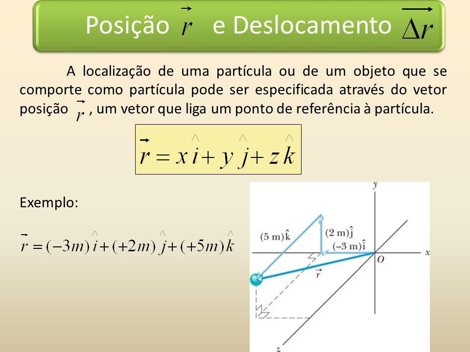 Posição e Deslocamento A localização de uma partícula ou de um objeto que se comporte como partícula pode ser especificada através do vetor posição, u