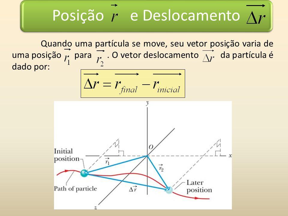Posição e Deslocamento Quando uma partícula se move, seu vetor posição varia de uma posição para. O vetor deslocamento da partícula é dado por: