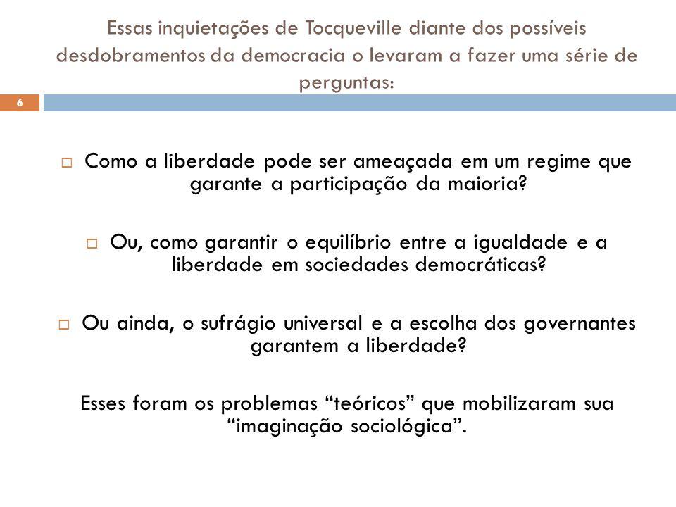 Essas inquietações de Tocqueville diante dos possíveis desdobramentos da democracia o levaram a fazer uma série de perguntas: Como a liberdade pode se