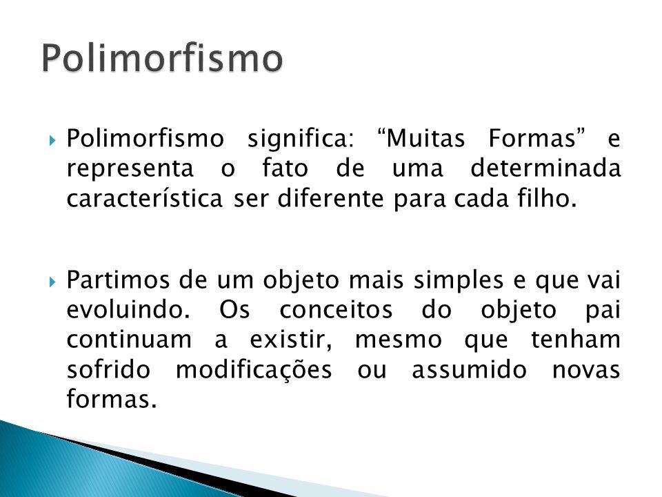 Polimorfismo significa: Muitas Formas e representa o fato de uma determinada característica ser diferente para cada filho. Partimos de um objeto mais