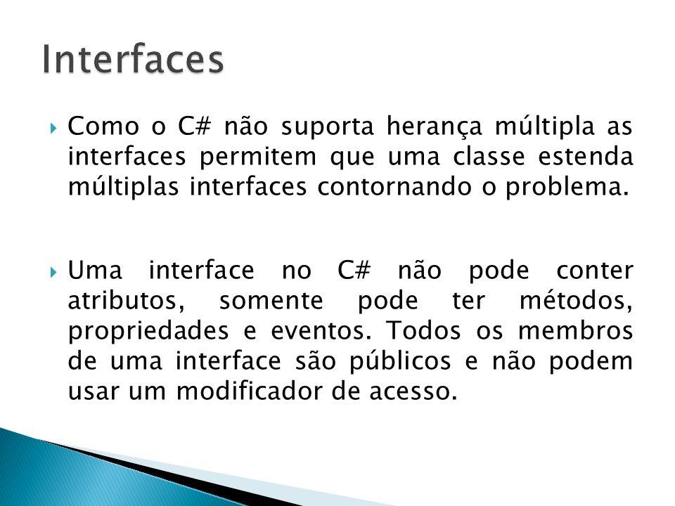 Como o C# não suporta herança múltipla as interfaces permitem que uma classe estenda múltiplas interfaces contornando o problema. Uma interface no C#