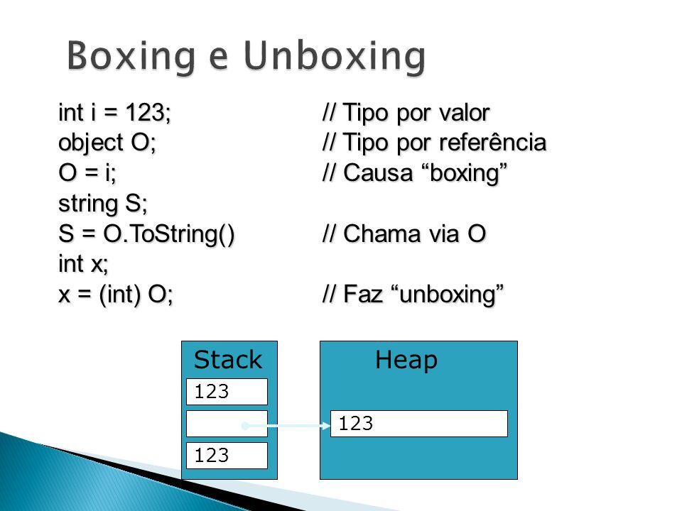 int i = 123;// Tipo por valor object O;// Tipo por referência O = i;// Causa boxing string S; S = O.ToString()// Chama via O int x; x = (int) O;// Faz
