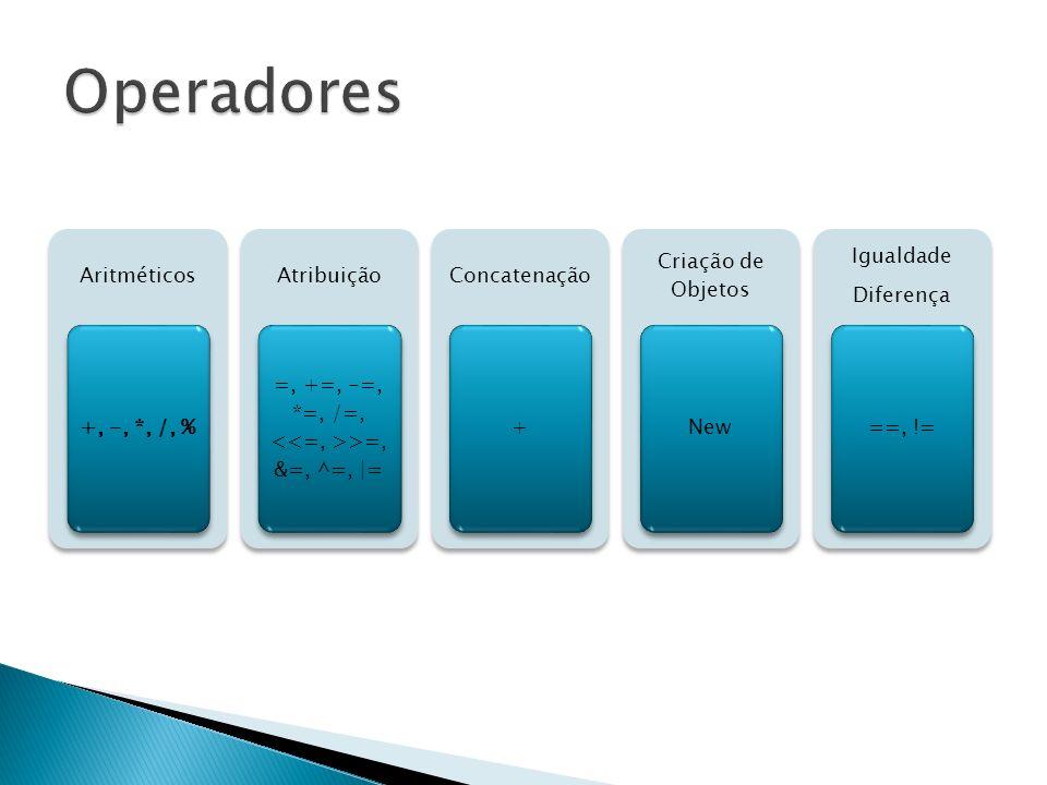 Aritméticos +, -, *, /, % Atribuição =, +=, -=, *=, /=, >=, &=, ^=, |= Concatenação + Criação de Objetos New Igualdade Diferença ==, !=