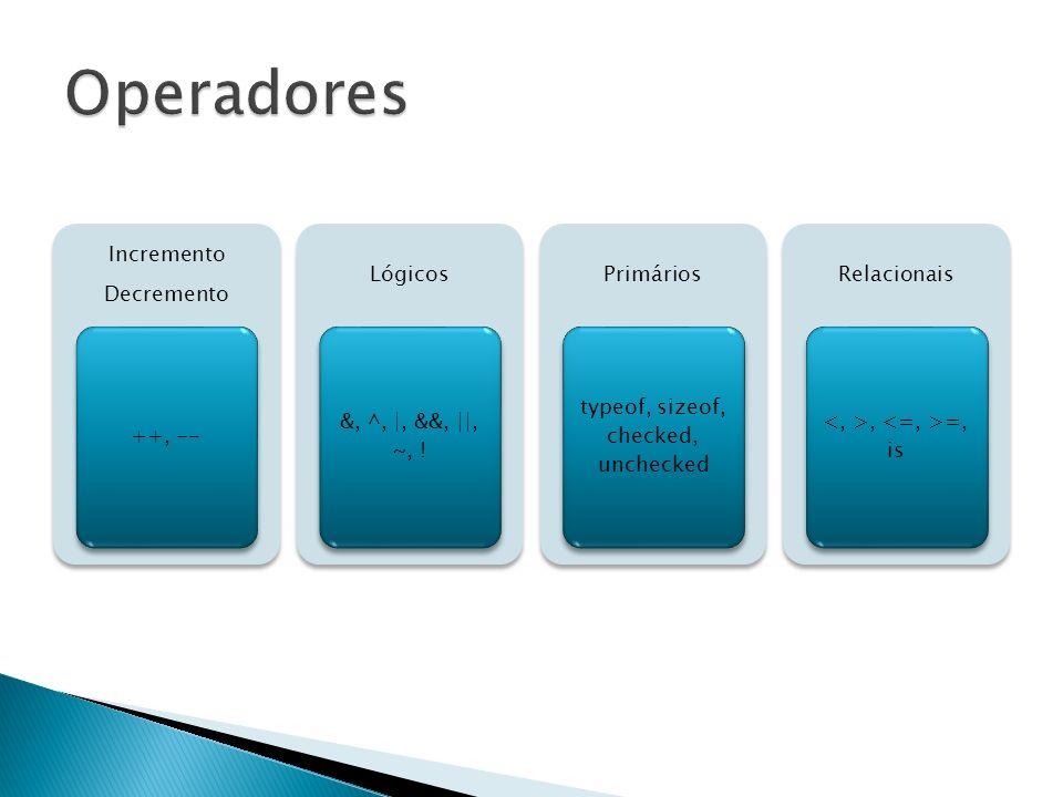 Incremento Decremento ++, -- Lógicos &, ^, |, &&, ||, ~, ! Primários typeof, sizeof, checked, unchecked Relacionais, =, is