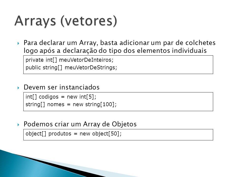 Inicializando um array Acessando membros do array int[] pedidos = {1, 4, 6, 8, 10, 68, 90, 98, 182, 500}; Cliente[] clientes = { new Cliente(Rodrigo), new Cliente(Eduardo) }; clientes[0].Idade = 20; clientes[1] = new Cliente(Marcelo); Console.WriteLine({0} e {1}, clientes[0].Nome, clientes[1].Nome);