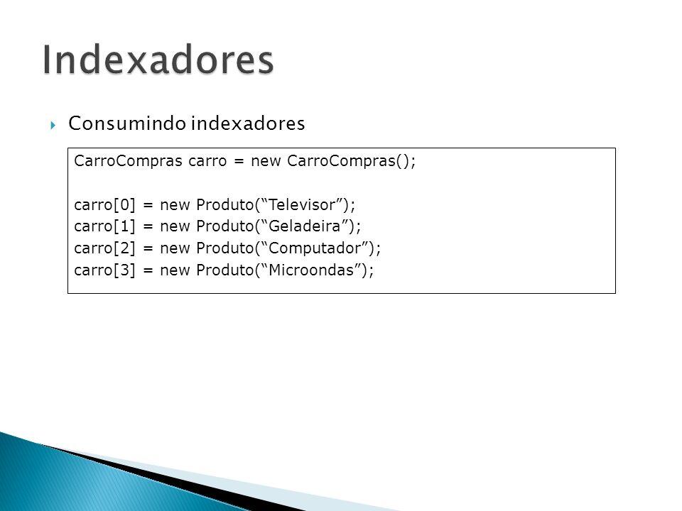 Consumindo indexadores CarroCompras carro = new CarroCompras(); carro[0] = new Produto(Televisor); carro[1] = new Produto(Geladeira); carro[2] = new P