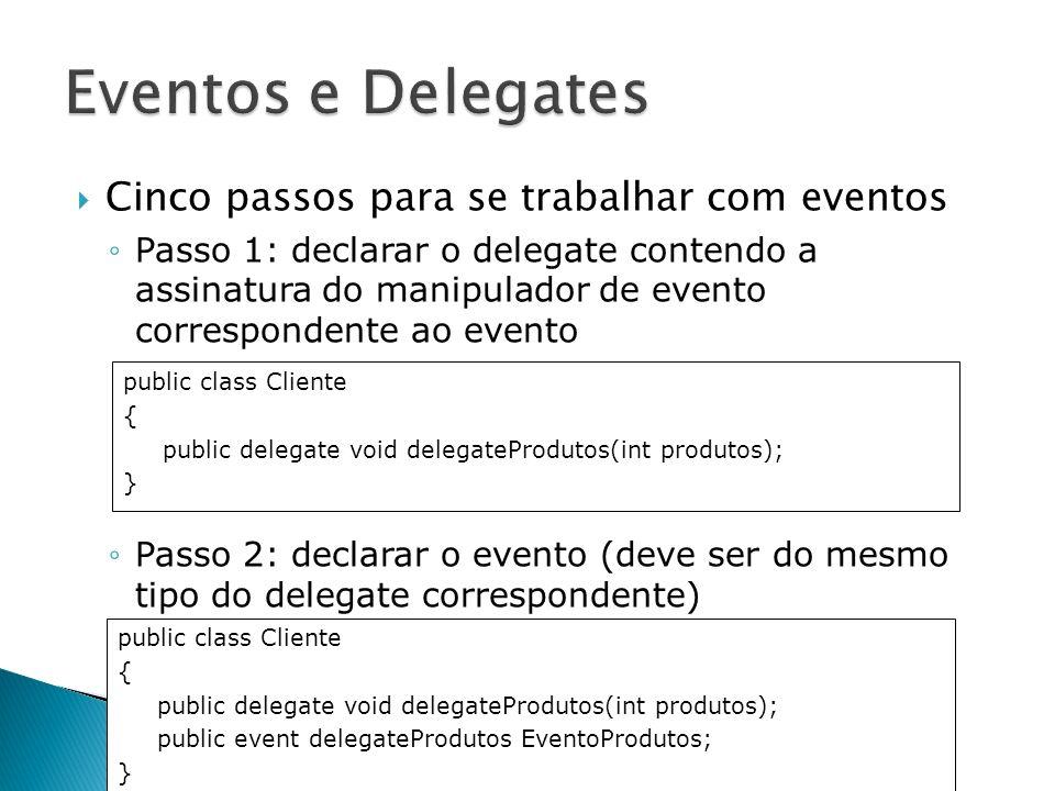Cinco passos para se trabalhar com eventos Passo 1: declarar o delegate contendo a assinatura do manipulador de evento correspondente ao evento Passo