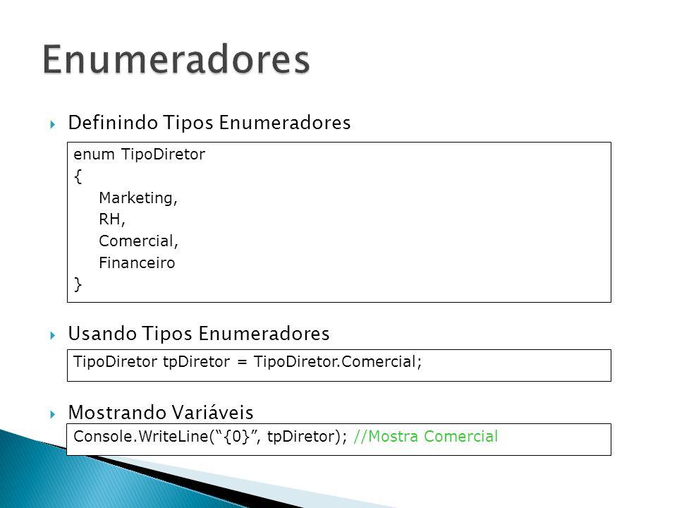 Definindo Tipos Enumeradores Usando Tipos Enumeradores Mostrando Variáveis enum TipoDiretor { Marketing, RH, Comercial, Financeiro } TipoDiretor tpDir