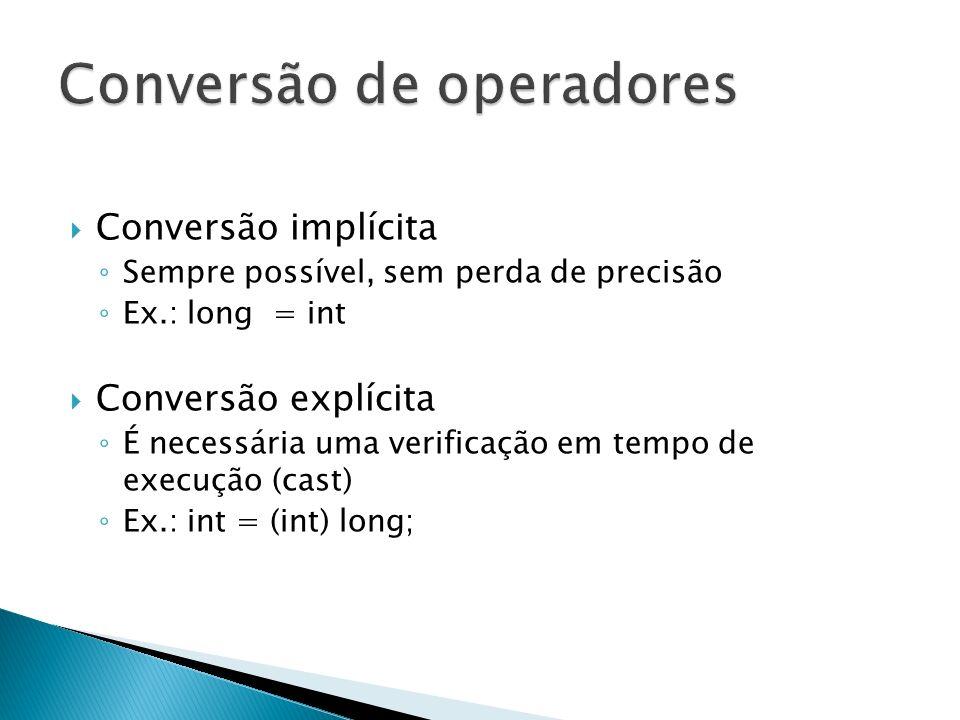 Conversão implícita Sempre possível, sem perda de precisão Ex.: long = int Conversão explícita É necessária uma verificação em tempo de execução (cast