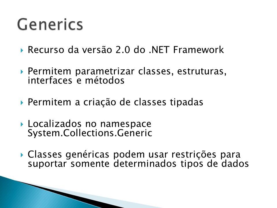 Declarando uma lista utilizando a classe List Trabalhando com a lista genérica //Criando uma lista de clientes List meusClientes = new List (); Cliente novoCliente = new Cliente(Rodrigo, 3); Vendedor novoVendedor = new Vendedor(Eduardo, 4); //Mesmas funcionalidades do ArrayList meusClientes.Add(novoCliente); meusClientes.Remove(novoCliente); //Gera erros em tempo de compilação meusClientes.Add(novoVendedor);
