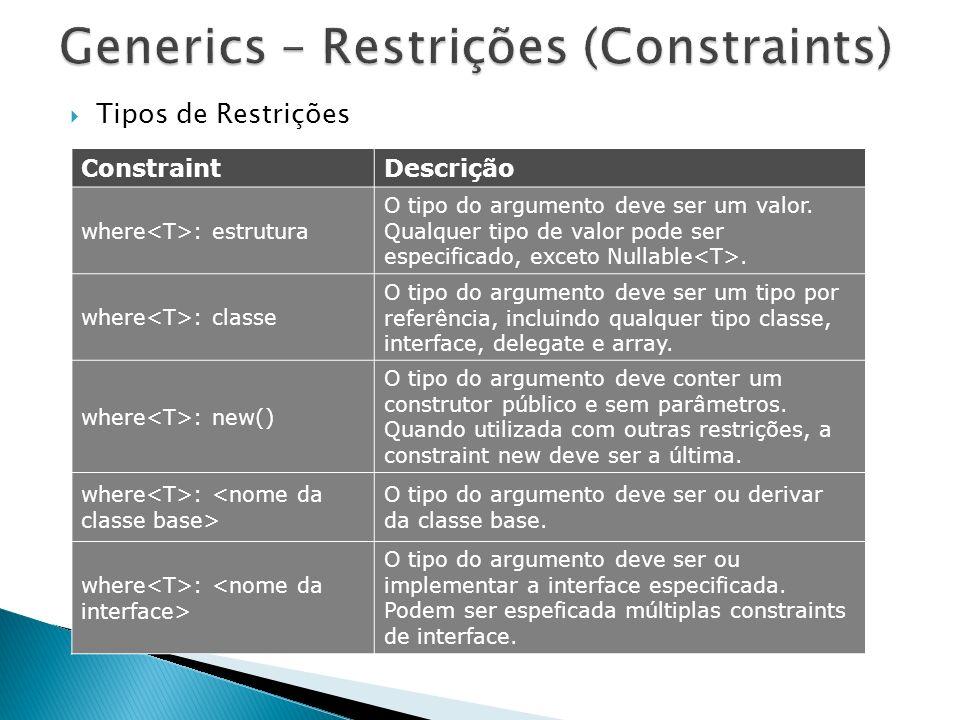 Tipos de Restrições ConstraintDescrição where : estrutura O tipo do argumento deve ser um valor. Qualquer tipo de valor pode ser especificado, exceto