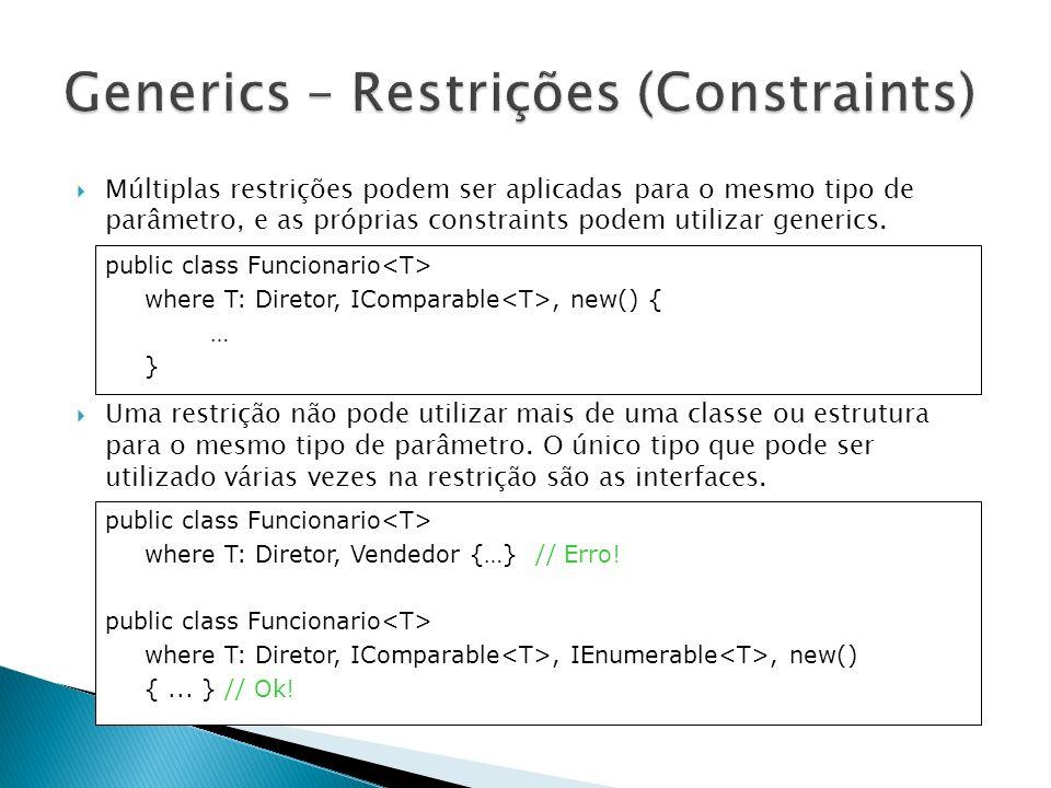 Além do uso em classes, podemos utilizar generics em métodos, interfaces e delegates.