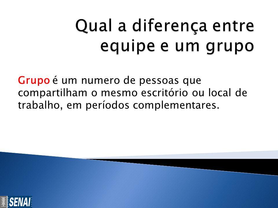 Grupo é um numero de pessoas que compartilham o mesmo escritório ou local de trabalho, em períodos complementares.