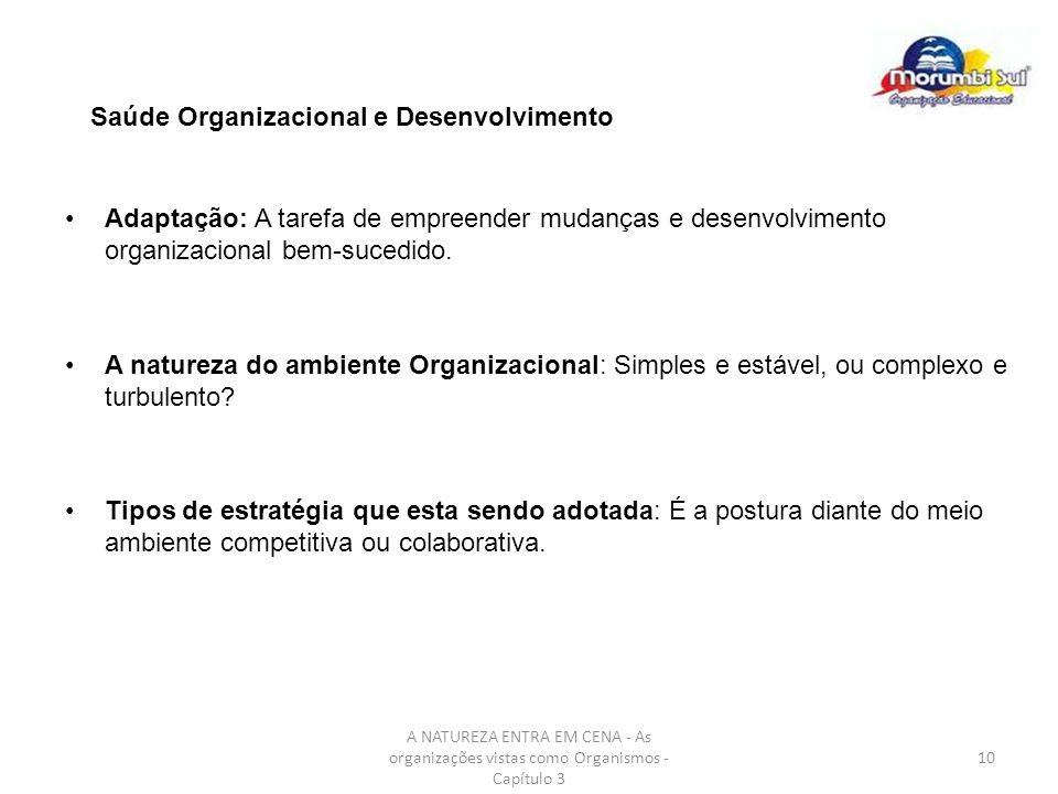 A NATUREZA ENTRA EM CENA - As organizações vistas como Organismos - Capítulo 3 10 Saúde Organizacional e Desenvolvimento Adaptação: A tarefa de empree