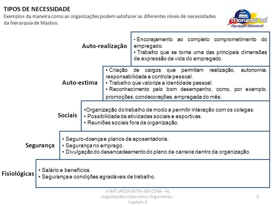 A NATUREZA ENTRA EM CENA - As organizações vistas como Organismos - Capítulo 3 3 Encorajamento ao completo comprometimento do empregado. Trabalho que