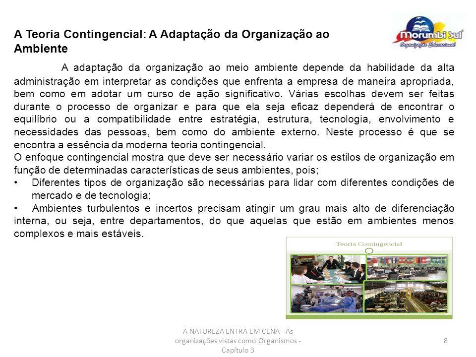 8 A Teoria Contingencial: A Adaptação da Organização ao Ambiente A adaptação da organização ao meio ambiente depende da habilidade da alta administraç