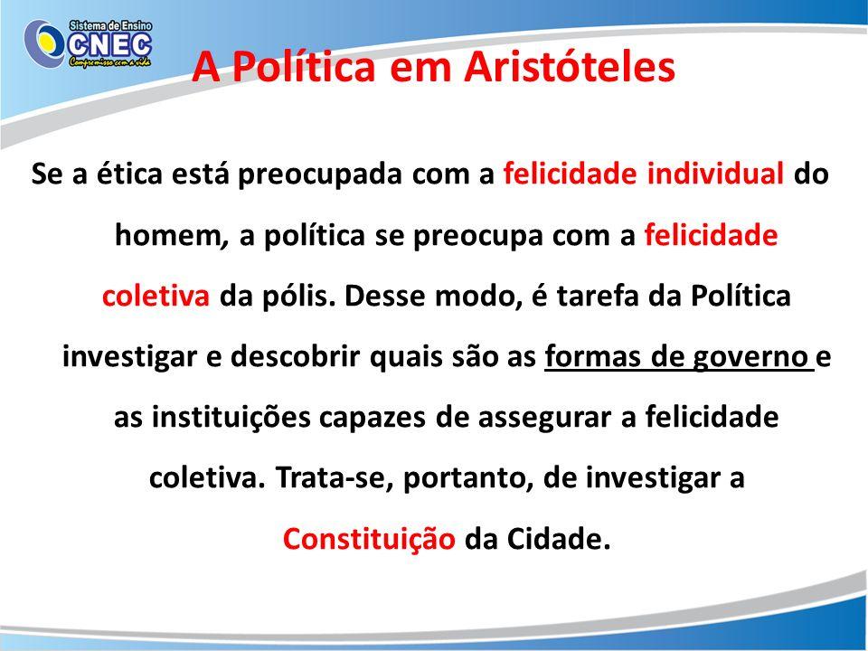 A Política em Aristóteles As Formas de Governo Aristóteles utiliza dois critérios combinados para determinar as formas de constituição: 1)O número de governantes e 2)A sua inclinação para a Justiça.