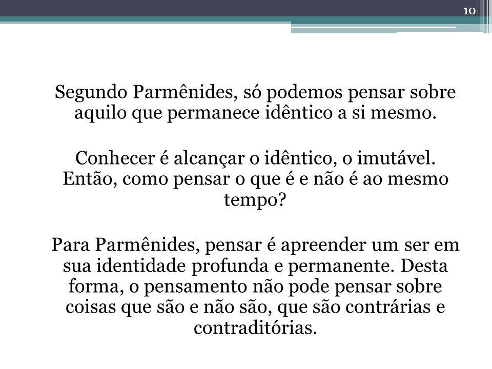 Segundo Parmênides, só podemos pensar sobre aquilo que permanece idêntico a si mesmo.