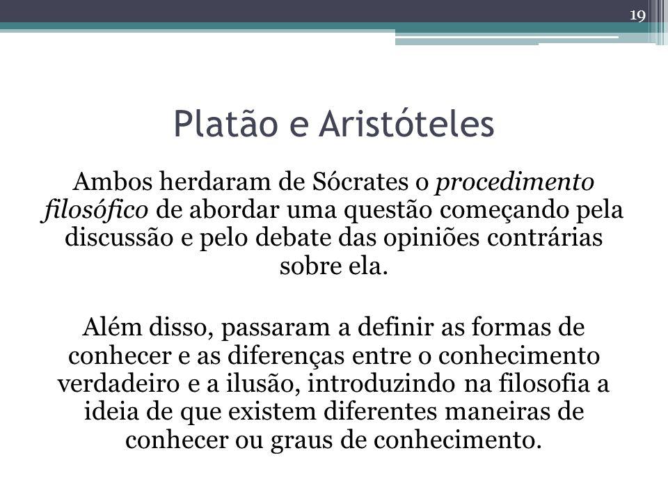 Platão e Aristóteles Ambos herdaram de Sócrates o procedimento filosófico de abordar uma questão começando pela discussão e pelo debate das opiniões contrárias sobre ela.