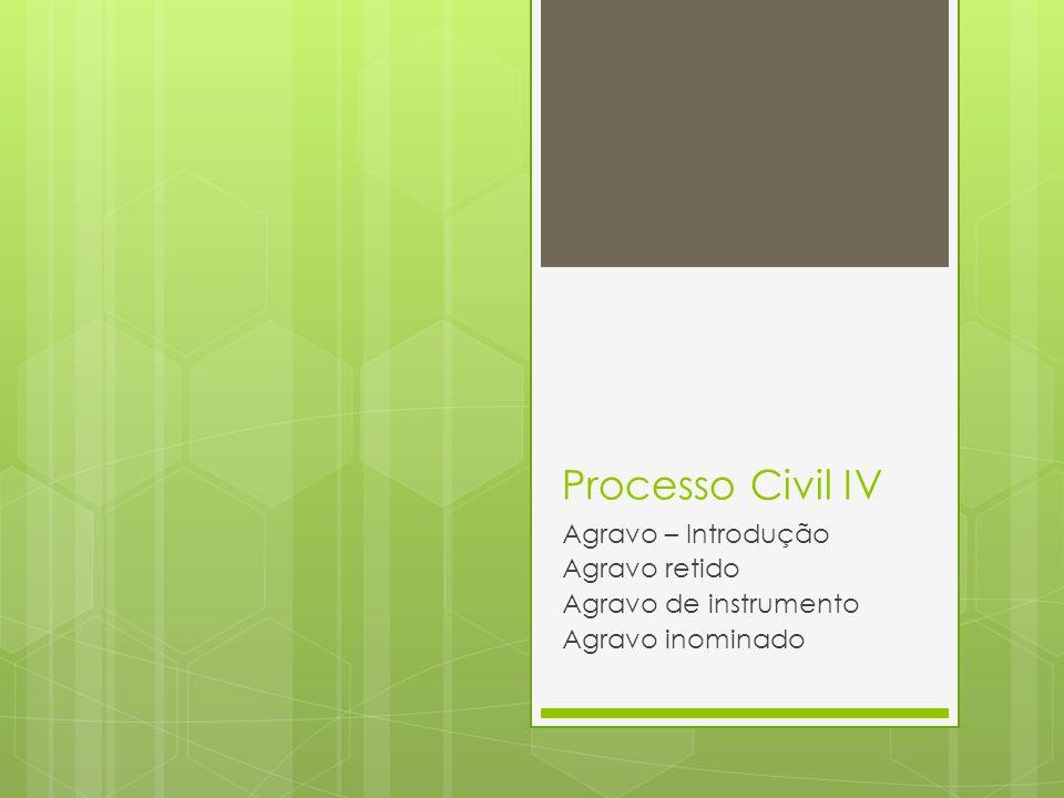 Processo Civil IV Agravo – Introdução Agravo retido Agravo de instrumento Agravo inominado