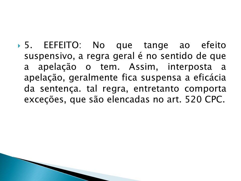 5. EEFEITO: No que tange ao efeito suspensivo, a regra geral é no sentido de que a apelação o tem. Assim, interposta a apelação, geralmente fica suspe