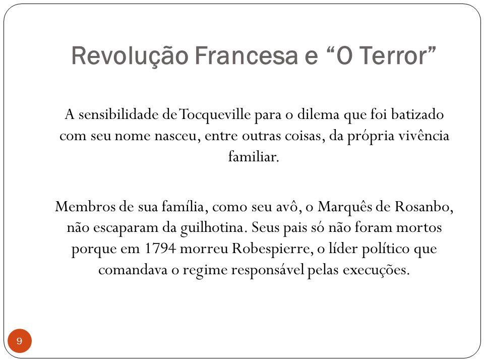 Revolução Francesa e O Terror 9 A sensibilidade de Tocqueville para o dilema que foi batizado com seu nome nasceu, entre outras coisas, da própria viv