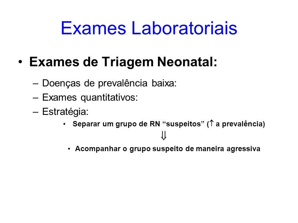 Exames Laboratoriais Exames de Triagem Neonatal: –Doenças de prevalência baixa: –Exames quantitativos: –Estratégia: Separar um grupo de RN suspeitos (