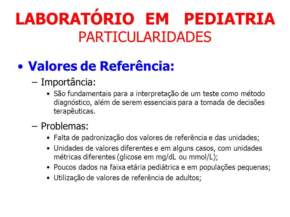 LABORATÓRIO EM PEDIATRIA PARTICULARIDADES Valores de Referência: –Importância: São fundamentais para a interpretação de um teste como método diagnósti
