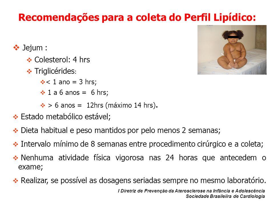 Recomendações para a coleta do Perfil Lipídico: Jejum : Colesterol: 4 hrs Triglicérides : < 1 ano = 3 hrs; 1 a 6 anos = 6 hrs; > 6 anos = 12hrs (máxim