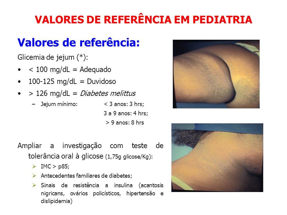 VALORES DE REFERÊNCIA EM PEDIATRIA Valores de referência: Glicemia de jejum (*): < 100 mg/dL = Adequado 100-125 mg/dL = Duvidoso > 126 mg/dL = Diabete