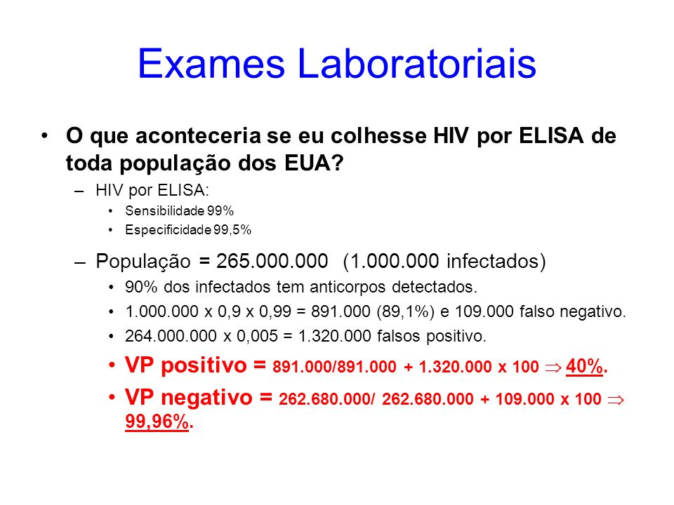 Exames Laboratoriais O que aconteceria se eu colhesse HIV por ELISA de toda população dos EUA? –HIV por ELISA: Sensibilidade 99% Especificidade 99,5%
