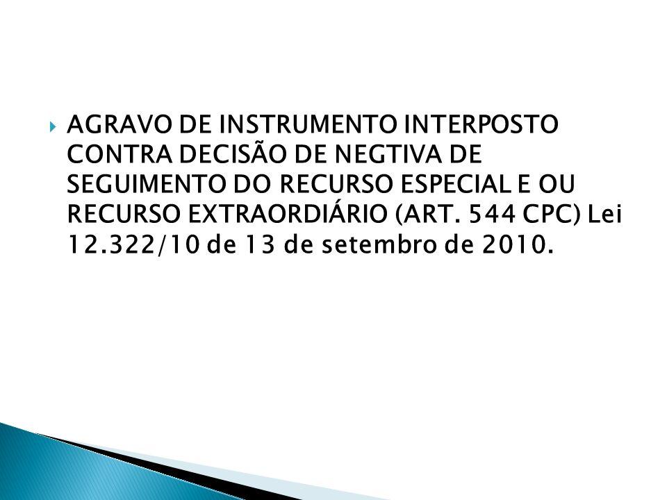 AGRAVO DE INSTRUMENTO INTERPOSTO CONTRA DECISÃO DE NEGTIVA DE SEGUIMENTO DO RECURSO ESPECIAL E OU RECURSO EXTRAORDIÁRIO (ART. 544 CPC) Lei 12.322/10 d