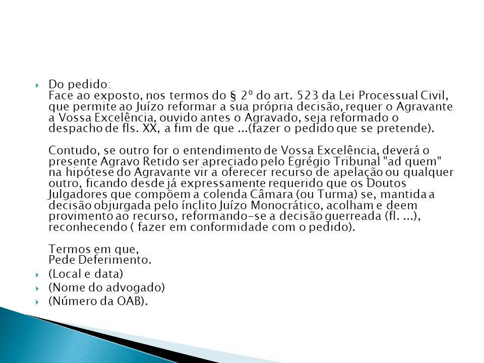 AGRAVO DE INSTRUMENTO 1.