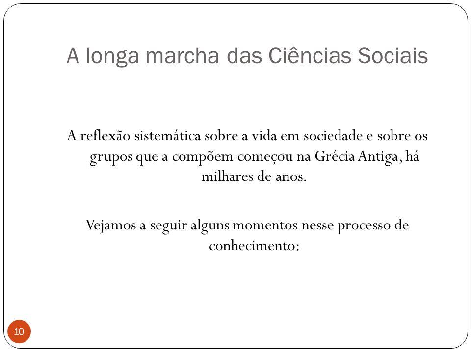 A longa marcha das Ciências Sociais A reflexão sistemática sobre a vida em sociedade e sobre os grupos que a compõem começou na Grécia Antiga, há milh