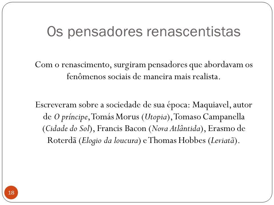 Os pensadores renascentistas Com o renascimento, surgiram pensadores que abordavam os fenômenos sociais de maneira mais realista. Escreveram sobre a s