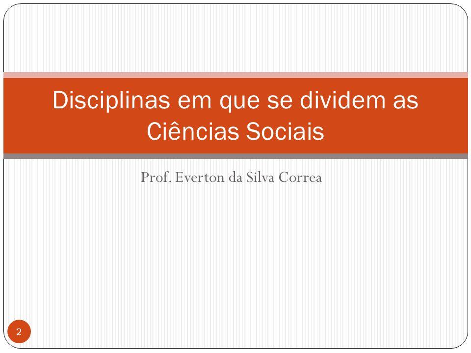 Prof. Everton da Silva Correa Disciplinas em que se dividem as Ciências Sociais 2