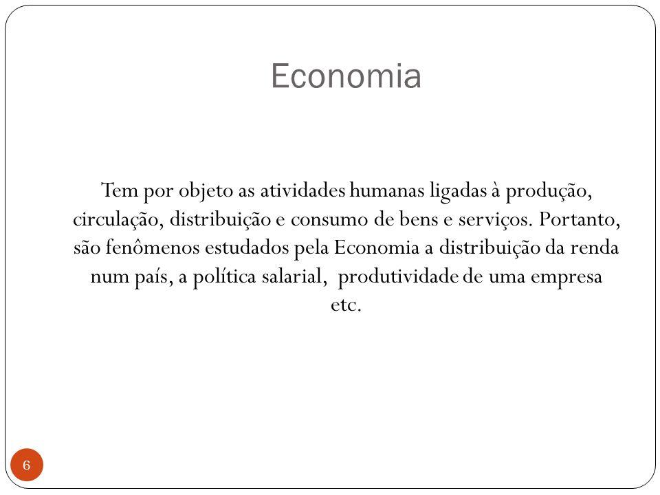 Economia Tem por objeto as atividades humanas ligadas à produção, circulação, distribuição e consumo de bens e serviços. Portanto, são fenômenos estud