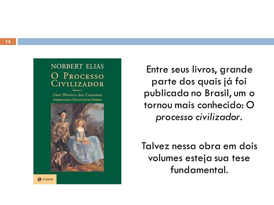 Entre seus livros, grande parte dos quais já foi publicada no Brasil, um o tornou mais conhecido: O processo civilizador. Talvez nessa obra em dois vo
