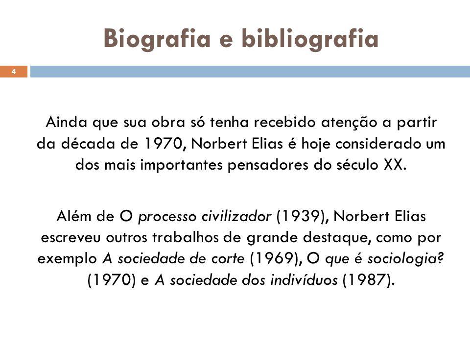 Biografia e bibliografia Ainda que sua obra só tenha recebido atenção a partir da década de 1970, Norbert Elias é hoje considerado um dos mais importantes pensadores do século XX.