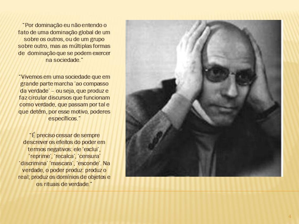 Michel Foucault foi um filósofo, historiador, crítico e ativista político francês que desenvolveu uma teoria e um método de pesquisa próprio, caracterizados por aproximar história e filosofia.