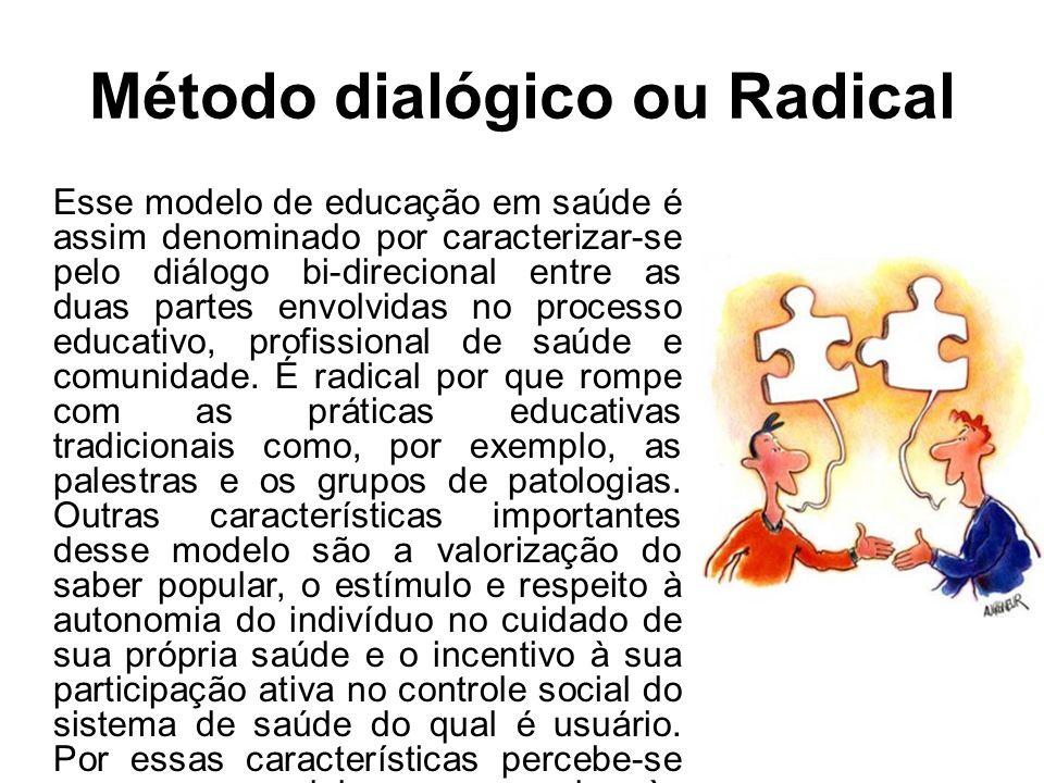 Método dialógico ou Radical Esse modelo de educação em saúde é assim denominado por caracterizar-se pelo diálogo bi-direcional entre as duas partes envolvidas no processo educativo, profissional de saúde e comunidade.