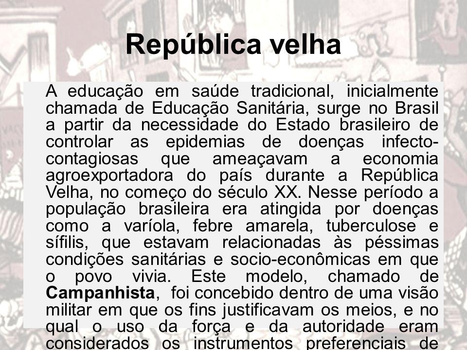 República velha A educação em saúde tradicional, inicialmente chamada de Educação Sanitária, surge no Brasil a partir da necessidade do Estado brasile