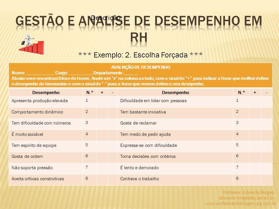 Professor Eduardo Borges - eduardo.borges@rj.senac.br - www.profeduardoborges.xpg.com.br *** Exemplo: 2. Escolha Forçada *** Descrição: AVALIAÇÃO DE D