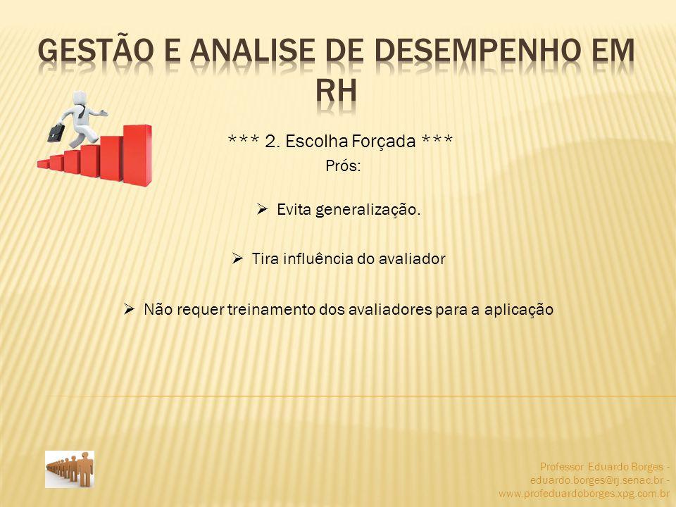 Professor Eduardo Borges - eduardo.borges@rj.senac.br - www.profeduardoborges.xpg.com.br *** 2. Escolha Forçada *** Prós: Evita generalização. Tira in