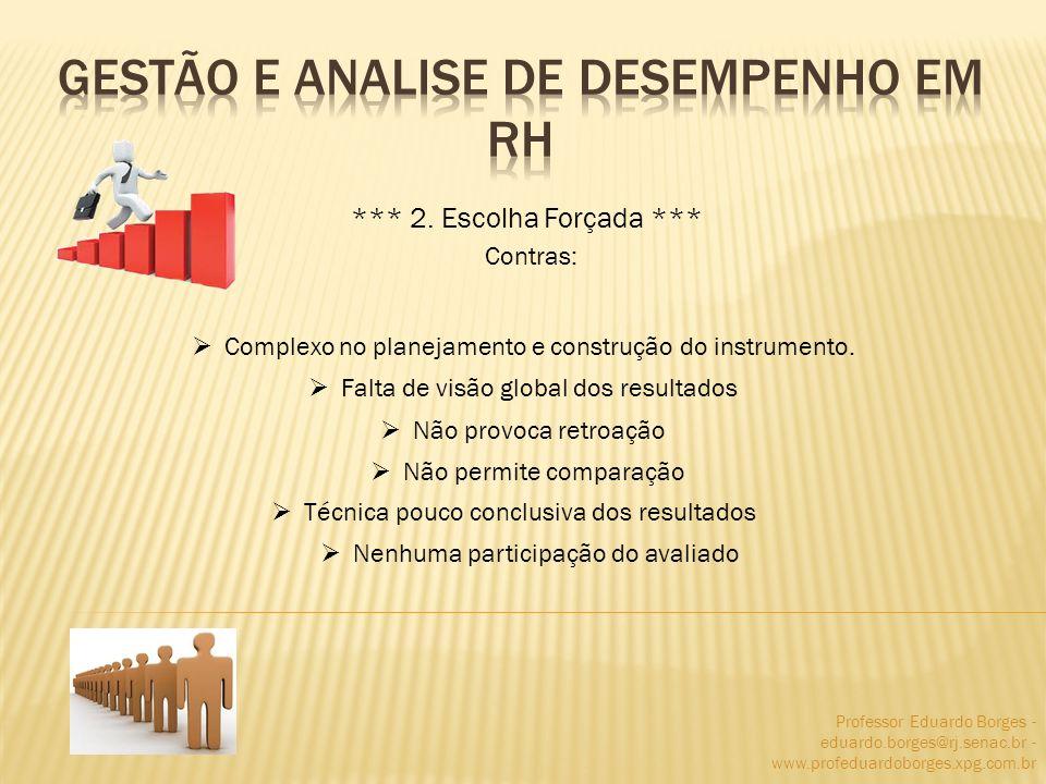 Professor Eduardo Borges - eduardo.borges@rj.senac.br - www.profeduardoborges.xpg.com.br *** 2. Escolha Forçada *** Contras: Complexo no planejamento