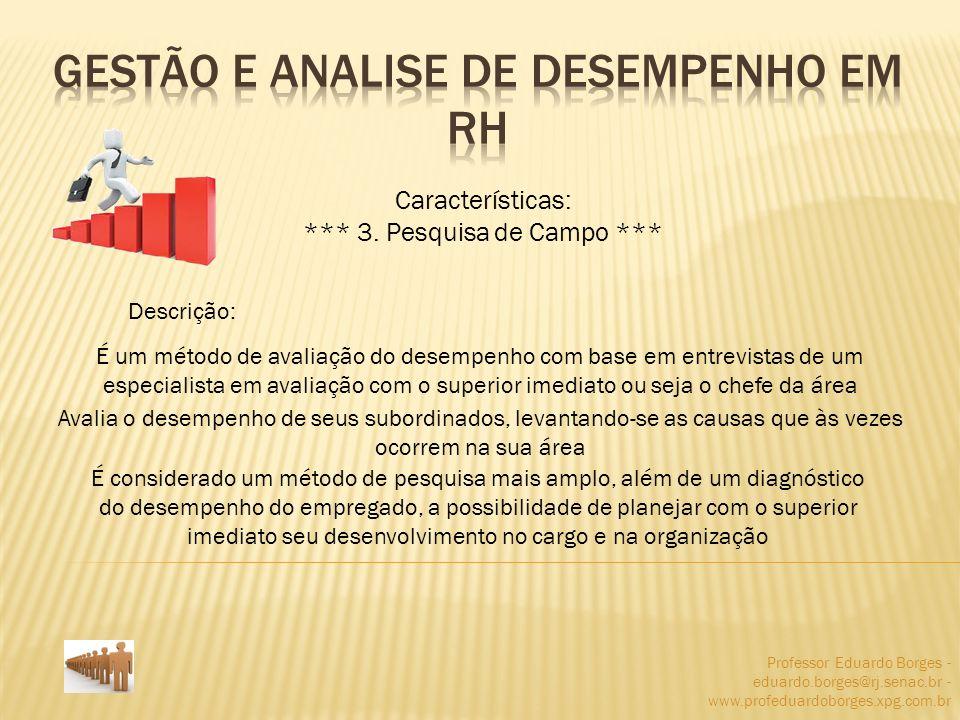 Professor Eduardo Borges - eduardo.borges@rj.senac.br - www.profeduardoborges.xpg.com.br Características: *** 3. Pesquisa de Campo *** Descrição: É um