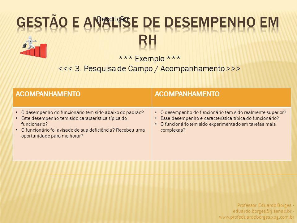 Professor Eduardo Borges - eduardo.borges@rj.senac.br - www.profeduardoborges.xpg.com.br *** Exemplo *** >> Descrição: ACOMPANHAMENTO O desempenho do